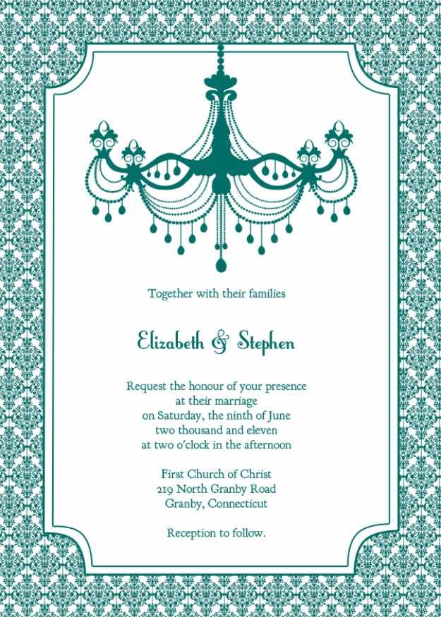 DIY Wedding Invitiations - Teal Chandelier Wedding Invitation - Templates, Free Printables and Wording   Tutorials for Unique, Rustic, Elegant and Vintage Homemade Invites #weddinginvitations #diyweddings
