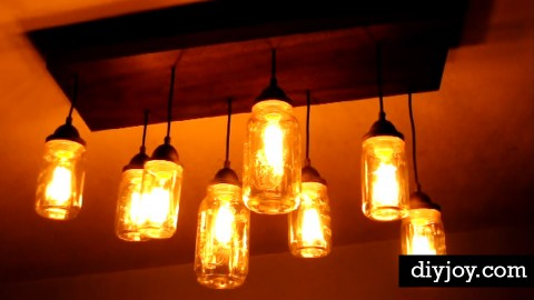 DIY Rustic Mason Jar Chandelier   DIY Joy Projects and Crafts Ideas