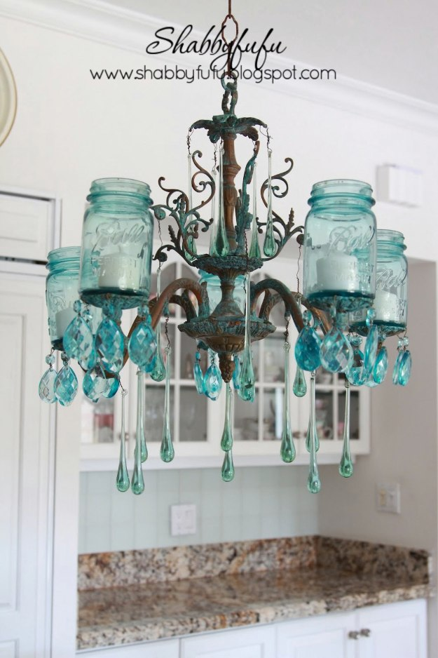 Mason Jar Lights - Turquoise Mason Jar Chandelier - DIY Ideas with Mason Jars for Outdoor, Kitchen, Bathroom, Bedroom and Home, Wedding. How to Make Hanging Lanterns, Rustic Chandeliers and Pendants, Solar Lights for Outside