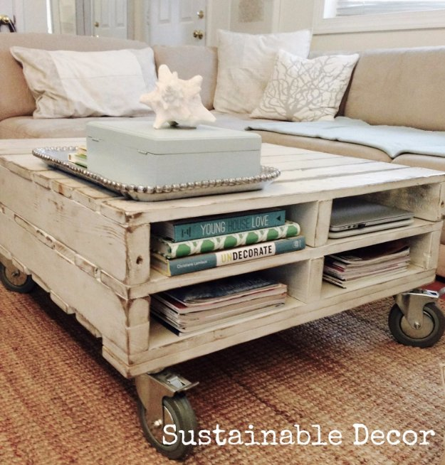 DIY Pallet Furniture Ideas - Upcycled Pallet Coffee Table - Best Do It Yourself Projects Made With Wooden Pallets - Indoor and Outdoor, Bedroom, Living Room, Patio. Coffee Table, Couch, Dining Tables, Shelves, Racks and Benches