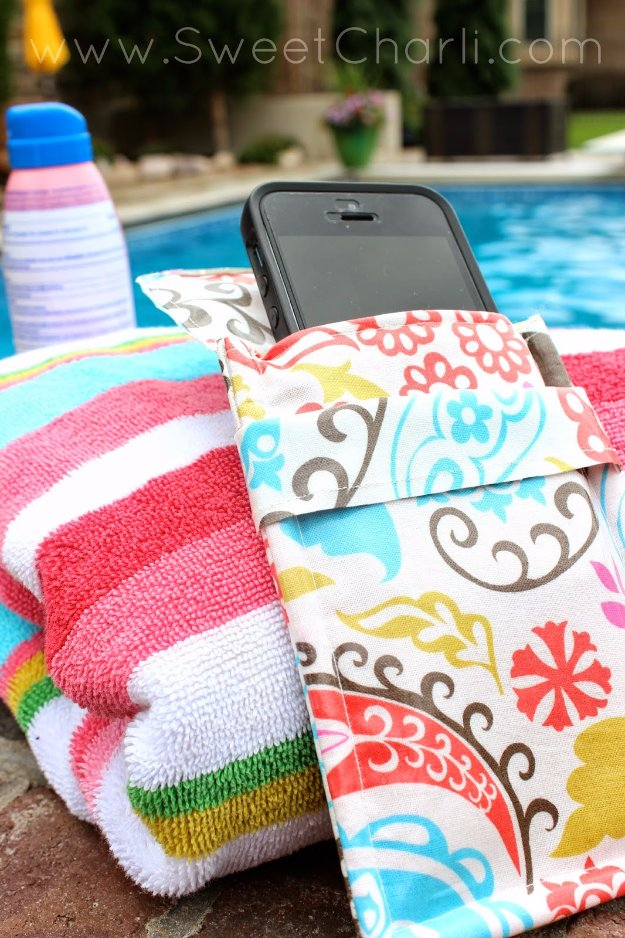 Easy Sewing Projects to Sell - Water Resistant Phone Pouch - DIY Sewing Ideas for Your Craft Business. Make Money with these Simple Gift Ideas, Free Patterns #sewing #crafts