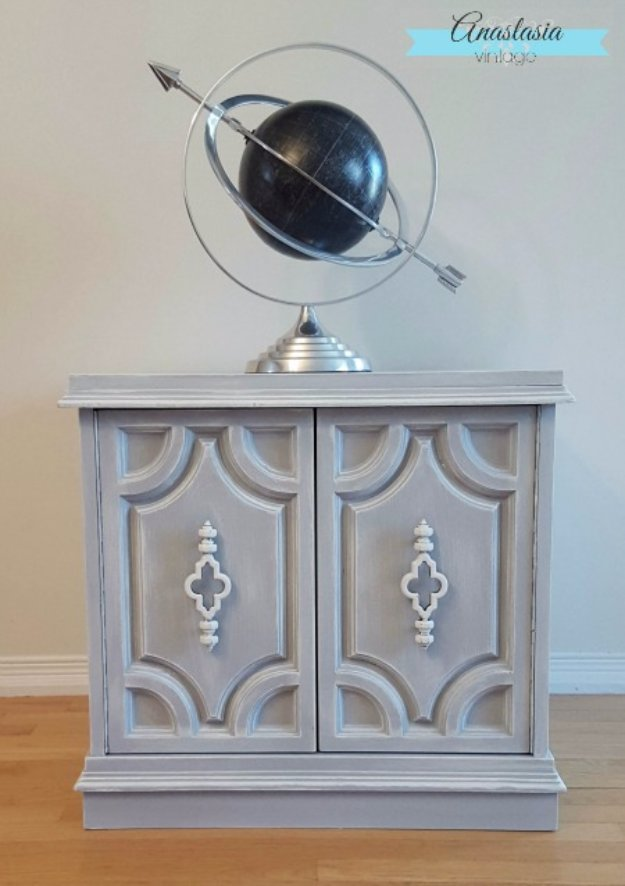 DIY Chalk Painted Furniture Projects With Step By Step Tutorials - Weathered Grey Cabinet - How To Make Distressed Furniture for Creative Home Decor Projects on A Budget - Perfect for Vintage Kitchen, Dining Room, Bedroom, Bathroom