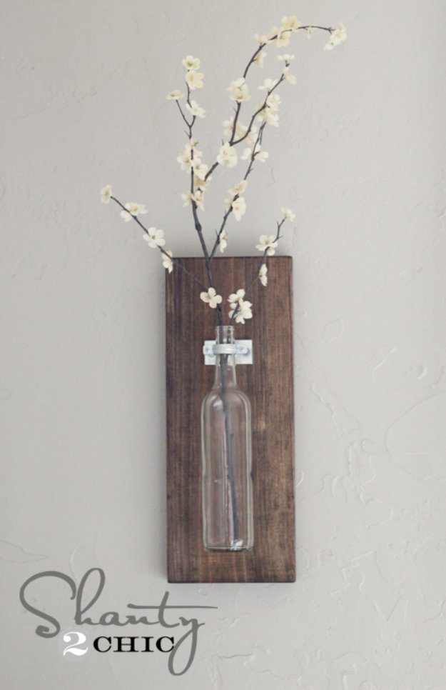 Brilliant DIY Decor Ideas for The Bedroom - Wine Bottle Wall Vase - Rustic and Vintage Decorating Projects for Bedroom Furniture, Bedding, Wall Art, Headboards, Rugs, Tables and Accessories. Tutorials and Step By Step Instructions
