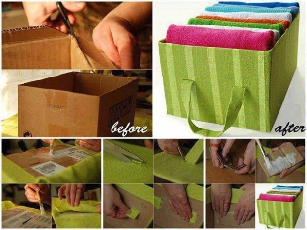 DIY Storage Ideas - Wonderful DIY Storage Tote from Cardboard - Home Decor and Organizing Projects for The Bedroom, Bathroom, Living Room, Panty and Storage Projects - Tutorials and Step by Step Instructions for Do It Yourself Organization #diy