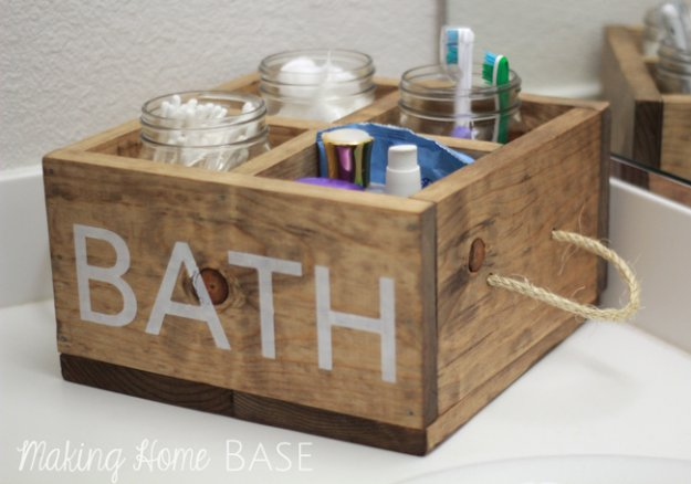 DIY Storage Ideas - Wood Caddy with Rope Handles for the Bathroom - Home Decor and Organizing Projects for The Bedroom, Bathroom, Living Room, Panty and Storage Projects - Tutorials and Step by Step Instructions for Do It Yourself Organization #diy