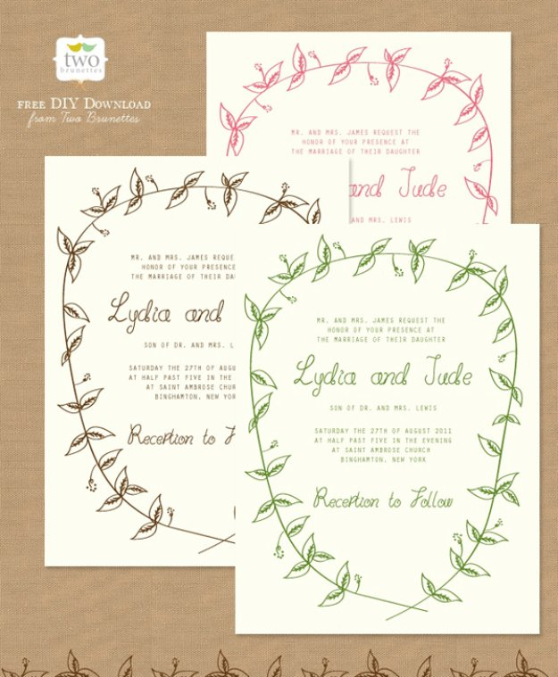 DIY Wedding Invitiations - Woodland Wedding Invitations - Templates, Free Printables and Wording | Tutorials for Unique, Rustic, Elegant and Vintage Homemade Invites #weddinginvitations #diyweddings