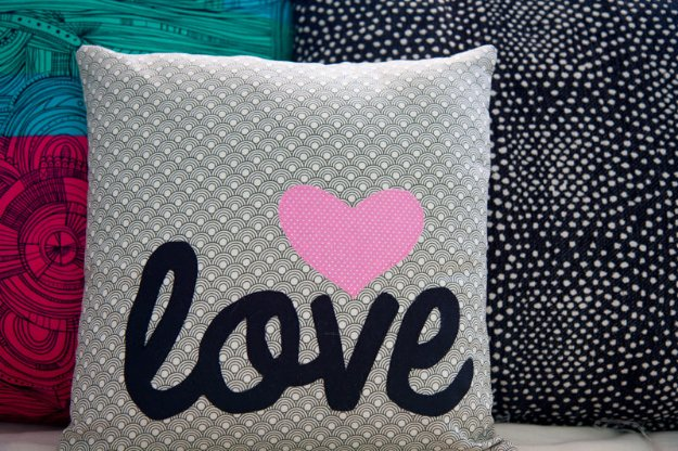 DIY Sewing Gift Ideas for Adults and Kids, Teens, Women, Men and Baby - Word Applique Pillow - Cute and Easy DIY Sewing Projects Make Awesome Presents for Mom, Dad, Husband, Boyfriend, Children #sewing #diygifts #sewingprojects