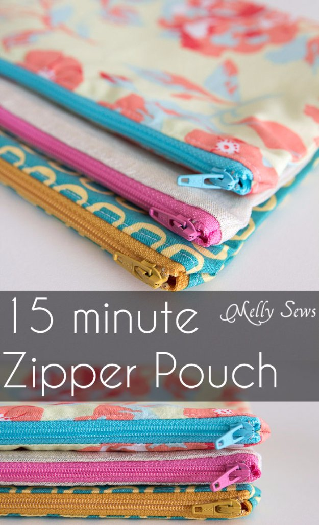 Easy Sewing Projects for DIY gifts - Simple and Quicks Things to Sew for Presents - Quick Zipper Pouch Tutorial
