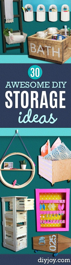 DIY Storage Ideas - Home Decor and Organizing Projects for The Bedroom, Bathroom, Living Room, Panty and Storage Projects - Tutorials and Step by Step Instructions for Do It Yourself Organization http://diyjoy.com/diy-storage-ideas-organization