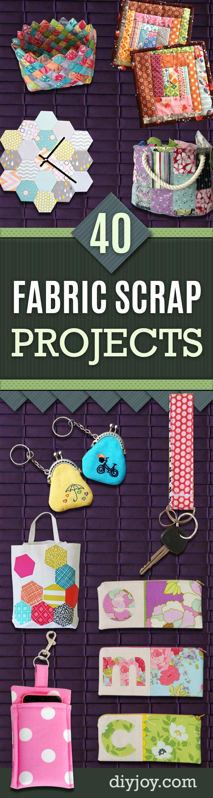 Easy Fabric Scrap Craft Ideas for Leftover Material from Quilting and Sewing Projects -Cool Crafts You Can Make With Fabric Scraps - Creative DIY Sewing Projects and Things to Do With Leftover Fabric - Ideas, Tutorials and Patterns #sewing #fabric #crafts