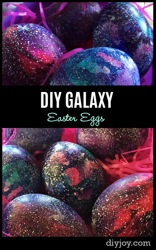 Easter Egg Decorating Ideas - How to Make Galaxy Easter Eggs - Creative Egg Dye Tutorials and Tips - DIY Easter Egg Projects for Kids and Adults