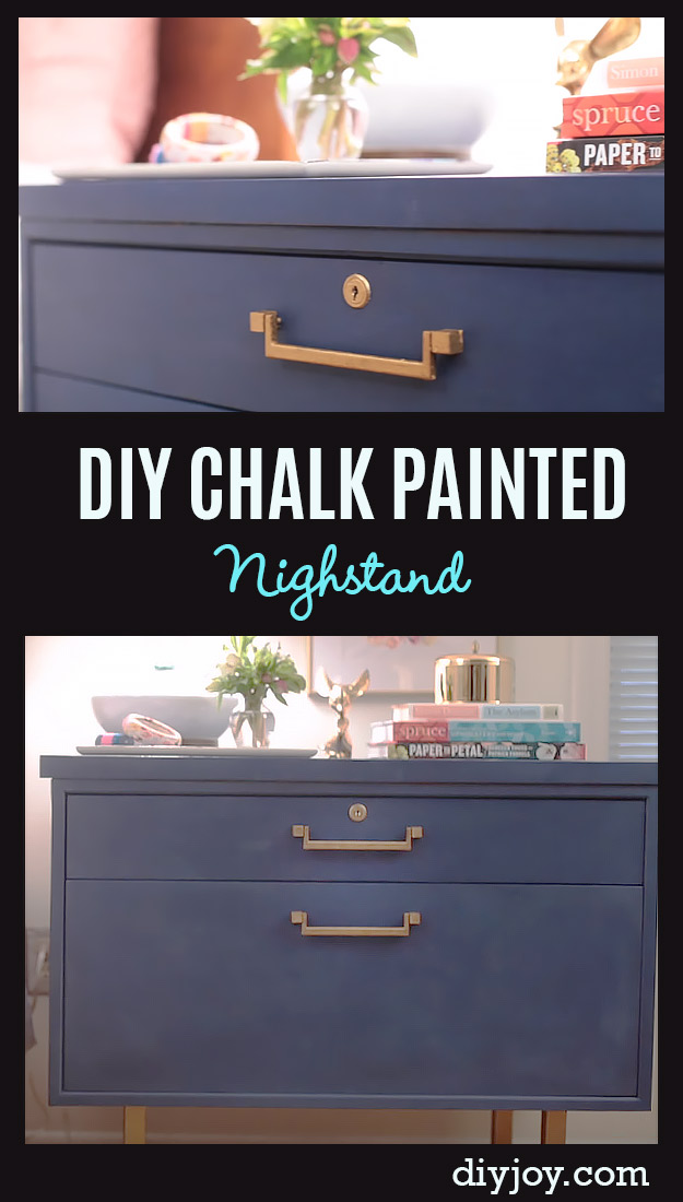 DIY Chalk Paint Furniture Ideas With Step By Step Tutorials - Chalk Painted Nightstand Makeover - How To Make Distressed Furniture for Creative Home Decor Projects on A Budget - Perfect for Vintage Kitchen, Dining Room, Bedroom, Bath http://diyjoy.com/chalk-paint-furniture-ideas