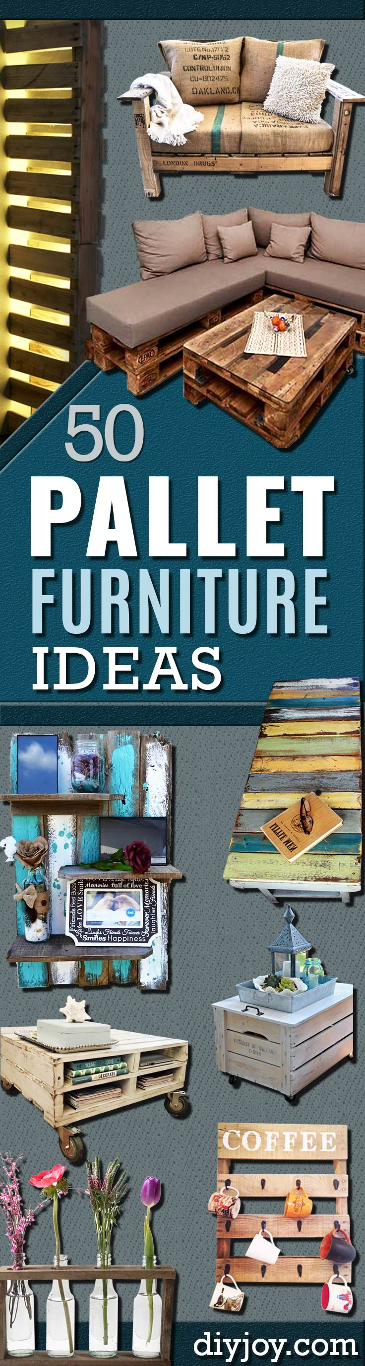 DIY Pallet Furniture Ideas - Best Do It Yourself Projects Made With Wooden Pallets - Indoor and Outdoor, Bedroom, Living Room, Patio. Coffee Table, Couch, Dining Tables, Shelves, Racks and Benches