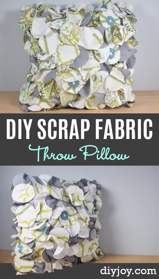 DIY Sewing Ideas With Fabric Scraps - Scrap Fabric Throw Pillow - Creative DIY Sewing Projects and Things to Do With Leftover Fabric Scrap Crafts #sewing #fabric #crafts