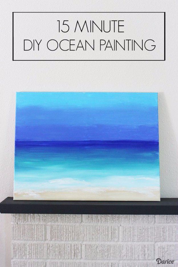 DIY Home Decor Projects for Summer - 15 Minute DIY Ocean Painting - Creative Summery Ideas for Table, Kitchen, Wall Art and Indoor Decor for Summer