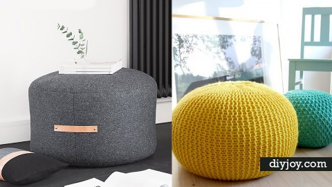 32 DIY Poufs To Make For Extra Seating   DIY Joy Projects and Crafts Ideas