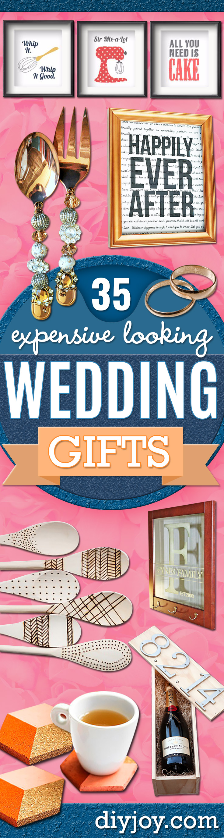 Expensive Looking DIY Wedding Gift Ideas - Cheap Gifts for Weddings and Handmade Gift Ideas for Couples - Easy and Unique Homemade Gift Ideas for Bride and Groom - Cheap Presents You Can Make for the Couple- for the Home, From The Kids, Personalized Ideas for Parents and Bridesmaids | http://diyjoy.com/cheap-diy-wedding-gifts