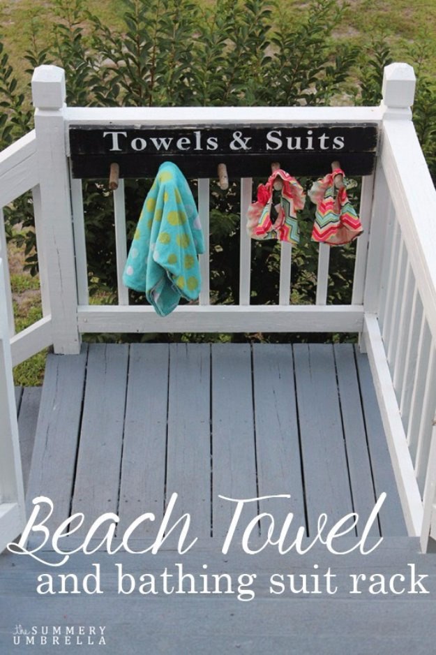DIY Ideas to Get Your Backyard Ready for Summer - Beach Towel and Bathing Suit Rack - Cool Ideas for the Yard This Summer. Furniture, Games and Fun Outdoor Decor both Adults and Kids Will Enjoy