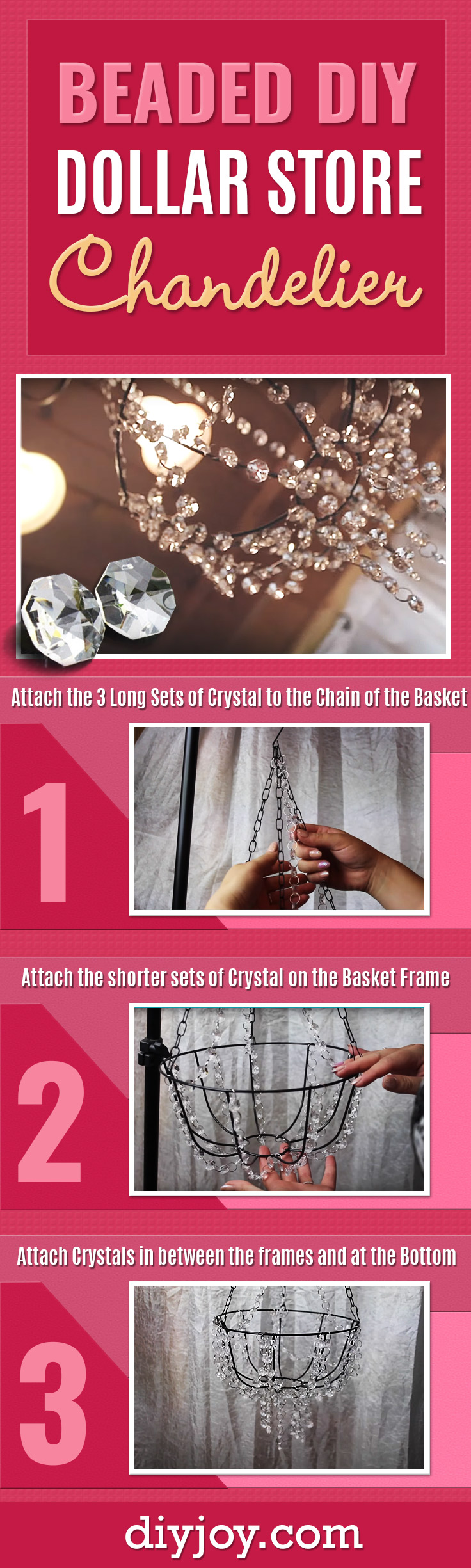Dollar Tree Crafts - Cheap Beaded Chandelier Dollar Store Crafts and Easy Home Decor Projects - Easy DIY Lighting Idea on A Budget