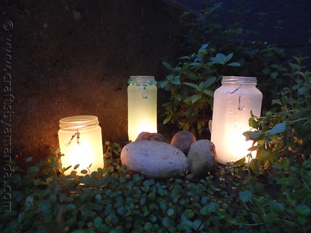 Mason Jar Ideas for Summer - Beaded Frost Mason Jar Luminaries - Mason Jar Crafts, Decor and Gifts, Centerpieces and DIY Projects With Jars That Are Perfect For Summertime - Fun and Easy Lights, Cool Vases, Creative 4th of July Ideas