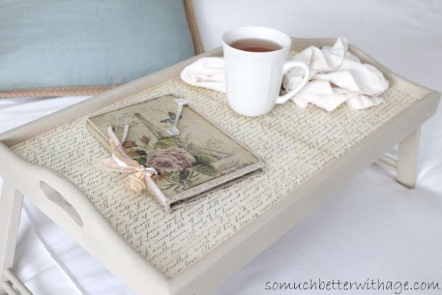 Creative DIY Mothers Day Gifts Ideas - Breakfast in Bed Tray - Thoughtful Homemade Gifts for Mom. Handmade Ideas from Daughter, Son, Kids, Teens or Baby - Unique, Easy, Cheap Do It Yourself Crafts To Make for Mothers Day, complete with tutorials and instructions http://diyjoy.com/diy-mothers-day-gift-ideas