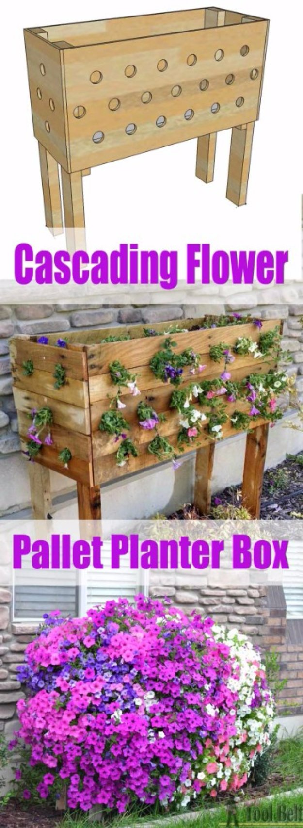 DIY Ideas for Your Garden - Cascading Flower Pallet Planter Box - Cool Projects for Spring and Summer Gardening - Planters, Rocks, Markers and Handmade Decor for Outdoor Gardens