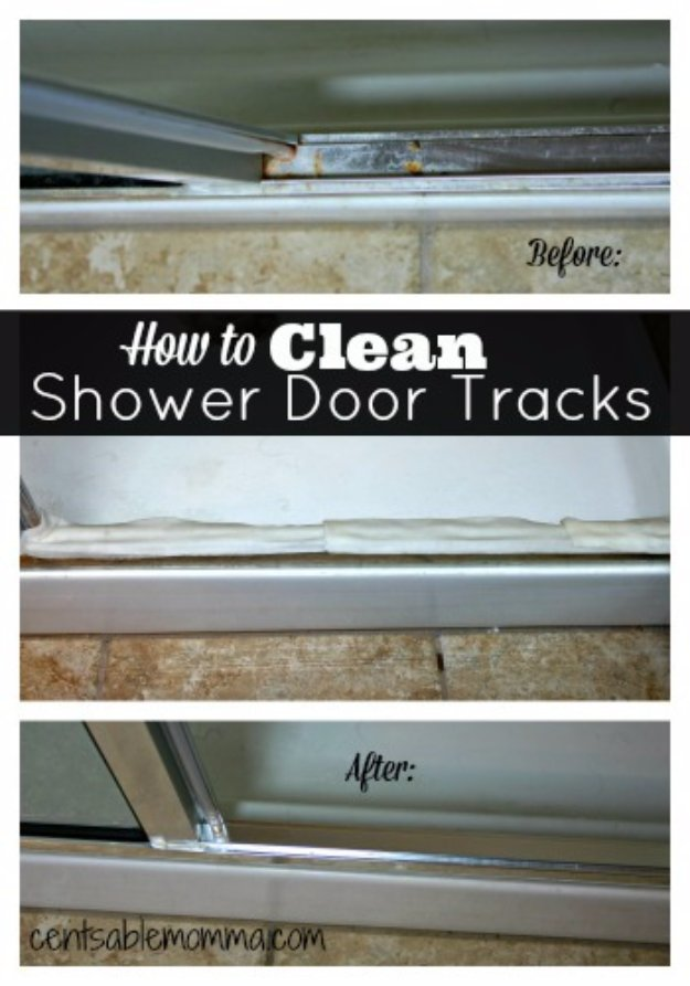Cleaning Tips and Hacks To Keep Your Home Sparkling. Clean Your Shower Door Tracks - Clever Ways to Make DYI Cleaning Easy. Bedroom, Bathroom, Kitchen, Garage, Floors, Countertops, Tub and Shower, Til, Laundry and Clothes