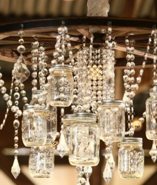 Mason Jar Lights - Country Chic Mason Jar Chandelier - DIY Ideas with Mason Jars for Outdoor, Kitchen, Bathroom, Bedroom and Home, Wedding. How to Make Hanging Lanterns, Rustic Chandeliers and Pendants, Solar Lights for Outside http://diyjoy.com/diy-mason-jar-lights-lanterns