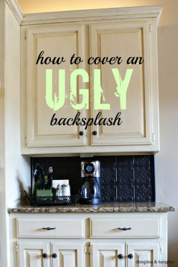 Home Improvement Hacks. - Cover an Ugly Backsplash - Remodeling Ideas and DIY Home Improvement Made Easy With the Clever, Easy Renovation Ideas. Kitchen, Bathroom, Garage. Walls, Floors, Baseboards,Tile, Ceilings, Wood and Trim #diy #homeimprovement