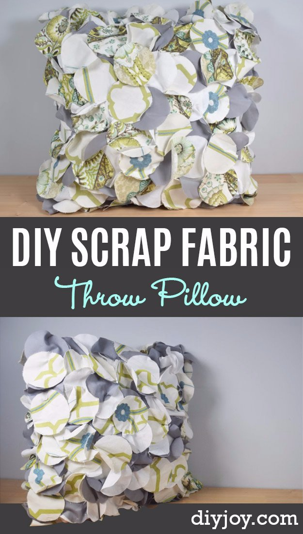 DIY Pillows and Creative Pillow Projects - Crafty Throw Pillow Made From Fabric Scraps - Decorative Cases and Covers, Throw Pillows, Cute and Easy Tutorials for Making Crafty Home Decor - Sewing Tutorials and No Sew Ideas