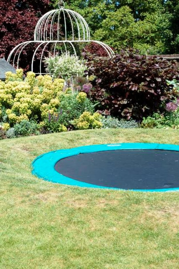 DIY Ideas to Get Your Backyard Ready for Summer - Create a Sunken Trampoline - Cool Ideas for the Yard This Summer. Furniture, Games and Fun Outdoor Decor both Adults and Kids Will Enjoy