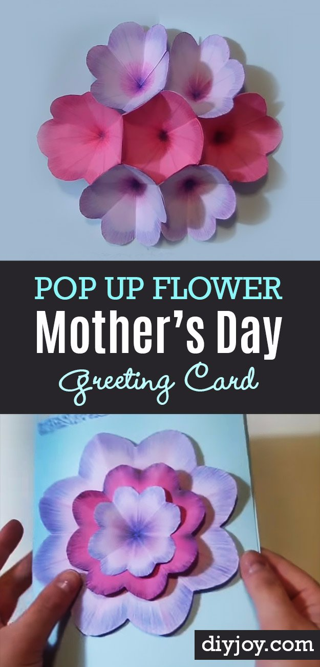 DIY Mothers Day Cards - Creative DIY Mothers Day Card With Pop Up Flowers - Creative and Thoughtful Homemade Card Ideas for Mom - Step by Step Tutorials, Best Quotes, Handmade Projects
