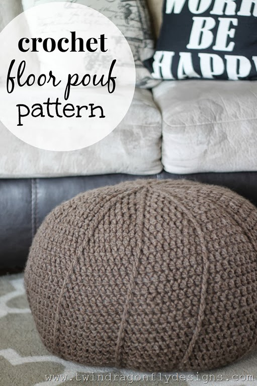Fabulous DIY Poufs and Ottomans - Crochet Floor Pouf - Step by Step Tutorials and Easy Patterns for Cool Home Decor. Crochet, No Sew, Leather, Moroccan Boho, Knit and Fun Fur Projects and Chair Ideas #diy #diyfurniture #sewing