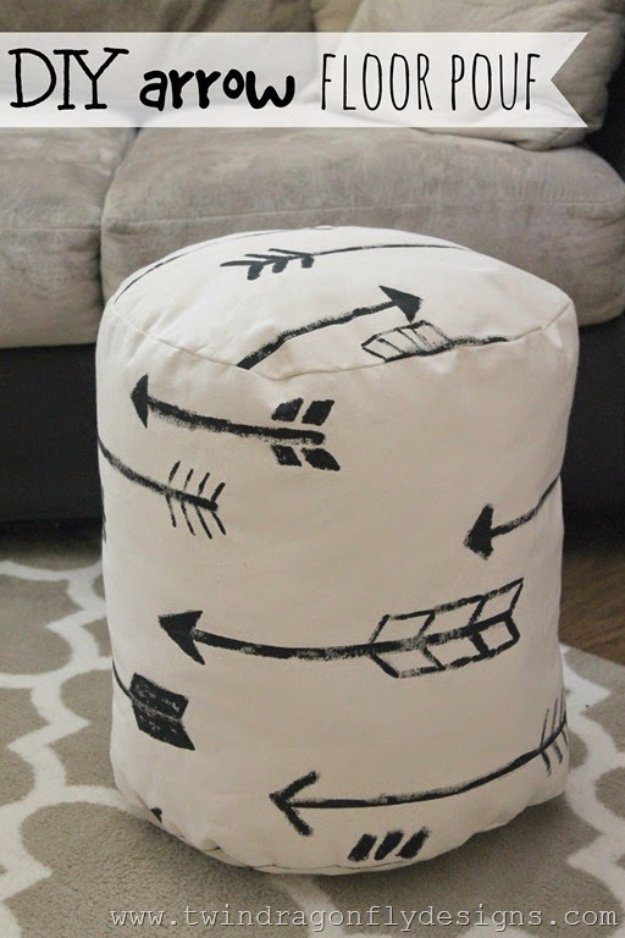 Fabulous DIY Poufs and Ottomans - DIY Arrow Floor Pouf - Step by Step Tutorials and Easy Patterns for Cool Home Decor. Crochet, No Sew, Leather, Moroccan Boho, Knit and Fun Fur Projects and Chair Ideas #diy #diyfurniture #sewing
