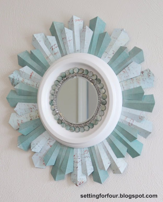 DIY Home Decor Projects for Summer - DIY Beaded Sunburst Mirror - Creative Summery Ideas for Table, Kitchen, Wall Art and Indoor Decor for Summer