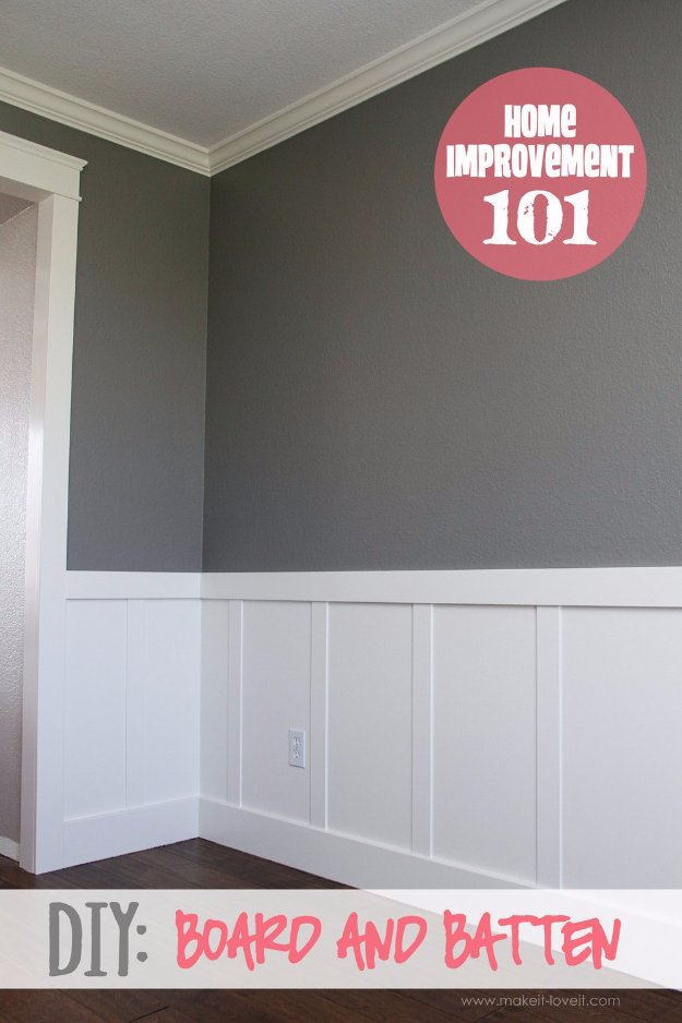 Home Improvement Hacks. - DIY Board and Batten - Remodeling Ideas and DIY Home Improvement Made Easy With the Clever, Easy Renovation Ideas. Kitchen, Bathroom, Garage. Walls, Floors, Baseboards,Tile, Ceilings, Wood and Trim #diy #homeimprovement