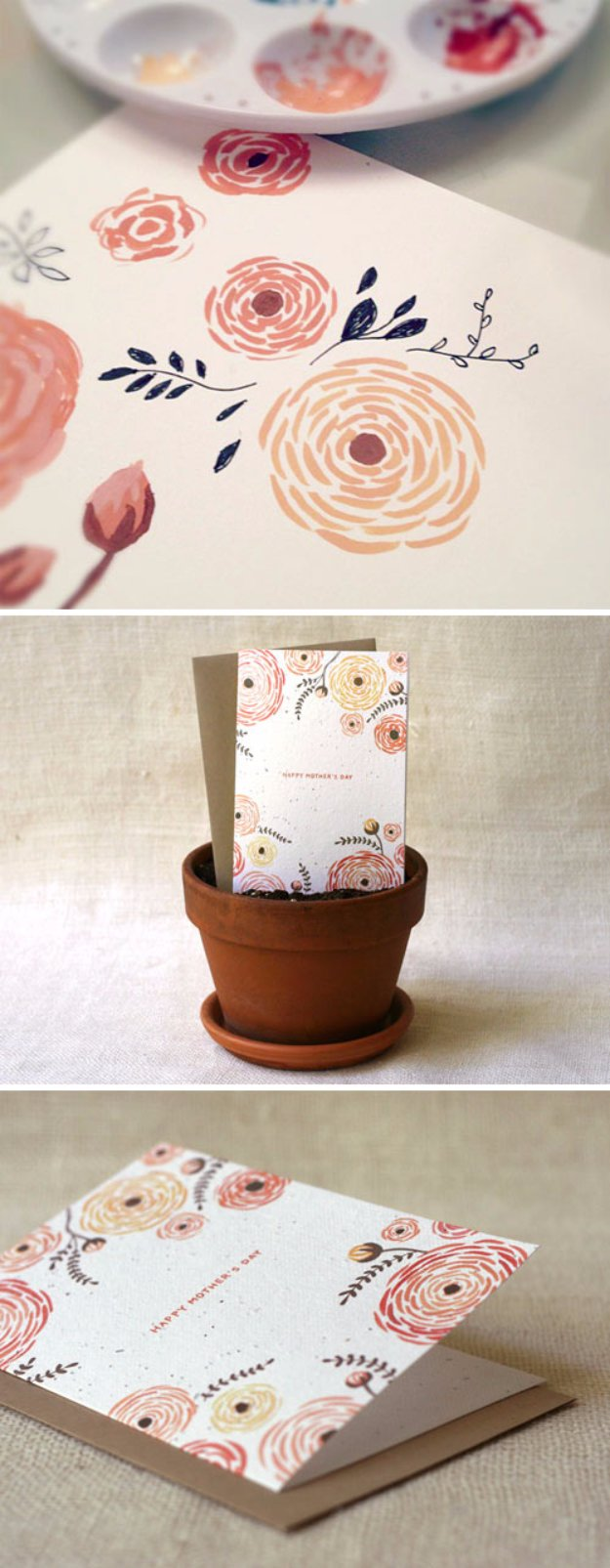 DIY Mothers Day Cards - DIY Bouquet Wildflower Seeds Embedded Card - Creative and Thoughtful Homemade Card Ideas for Mom - Step by Step Tutorials, Best Quotes, Handmade Projects