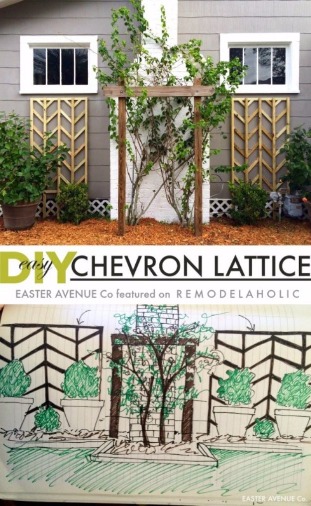 DIY Ideas for Your Garden - DIY Chevron Lattice Trellis Tutorial - Cool Projects for Spring and Summer Gardening - Planters, Rocks, Markers and Handmade Decor for Outdoor Gardens
