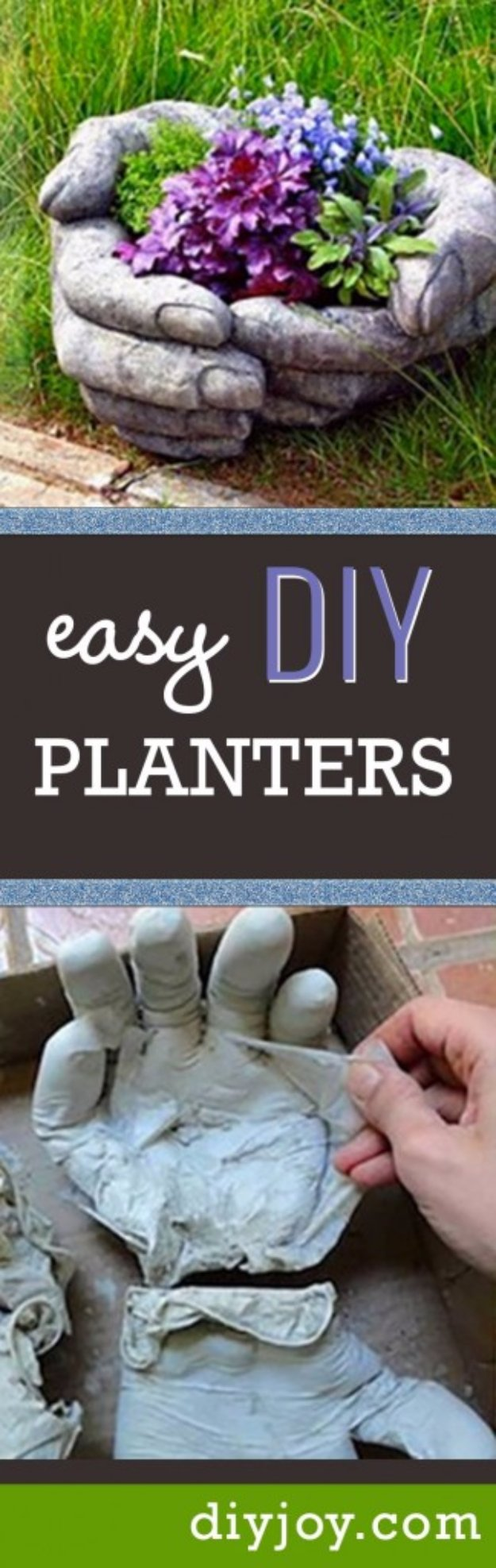 DIY Ideas for Your Garden - DIY Concrete Hand Planters - Cool Projects for Spring and Summer Gardening - Planters, Rocks, Markers and Handmade Decor for Outdoor Gardens