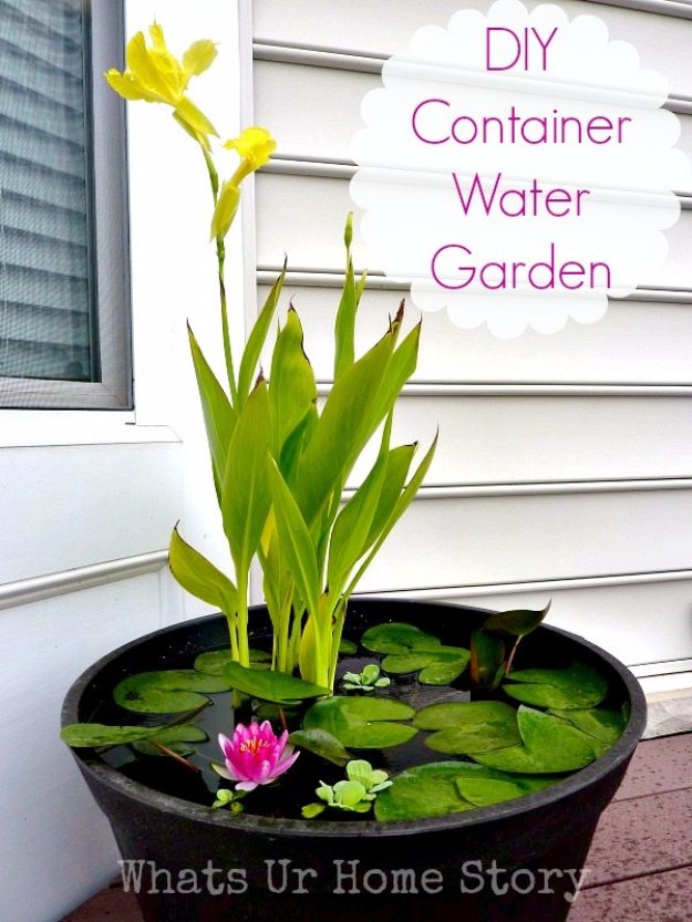 DIY Ideas for Your Garden - DIY Container Water Garden - Cool Projects for Spring and Summer Gardening - Planters, Rocks, Markers and Handmade Decor for Outdoor Gardens