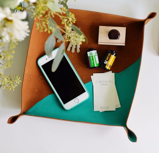 Creative DIY Mothers Day Gifts Ideas - DIY Cross Stitch Leather Catchall - Thoughtful Homemade Gifts for Mom. Handmade Ideas from Daughter, Son, Kids, Teens or Baby - Unique, Easy, Cheap Do It Yourself Crafts To Make for Mothers Day, complete with tutorials and instructions #mothersday