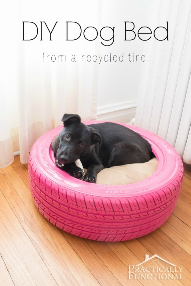 DIY Dog Beds - DIY Dog Bed From A Recycled Tire - Projects and Ideas for Large, Medium and Small Dogs. Cute and Easy No Sew Crafts for Your Pets. Pallet, Crate, PVC and End Table Dog Bed Tutorials http://diyjoy.com/diy-dog-beds
