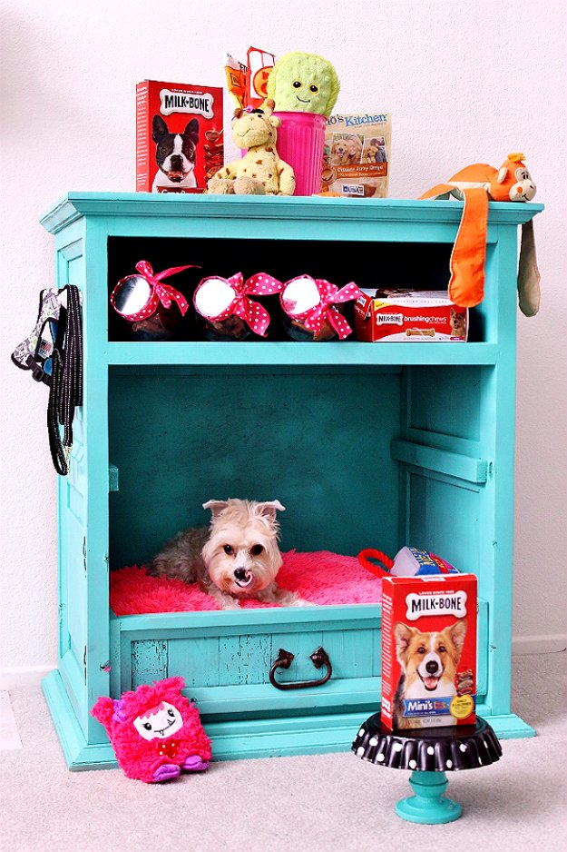 DIY Dog Beds - DIY Dog Cabinet - Projects and Ideas for Large, Medium and Small Dogs. Cute and Easy No Sew Crafts for Your Pets. Pallet, Crate, PVC and End Table Dog Bed Tutorials #pets #diypet #dogs #diyideas