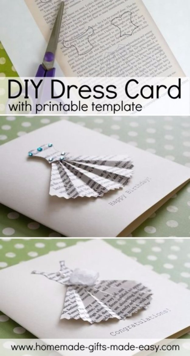DIY Mothers Day Cards - DIY Dress Card - Creative and Thoughtful Homemade Card Ideas for Mom - Step by Step Tutorials, Best Quotes, Handmade Projects http://diyjoy.com/diy-mothers-day-cards