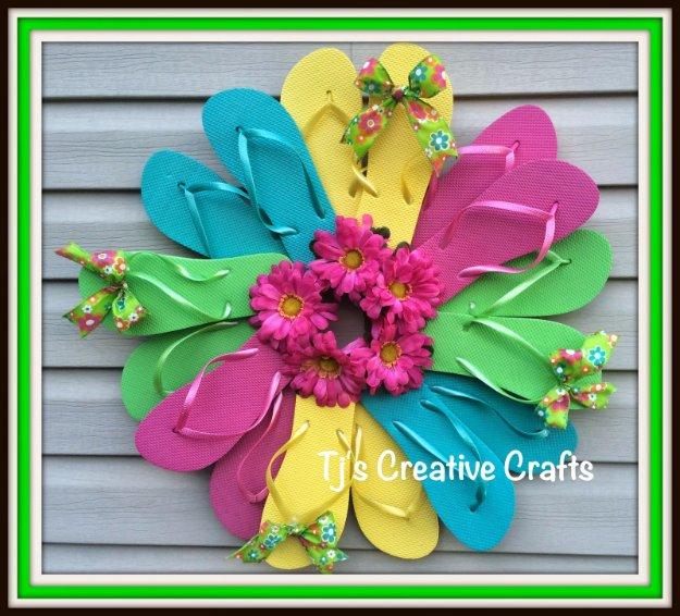 DIY Home Decor Projects for Summer - DIY Flip Flop Wreath - Creative Summery Ideas for Table, Kitchen, Wall Art and Indoor Decor for Summer