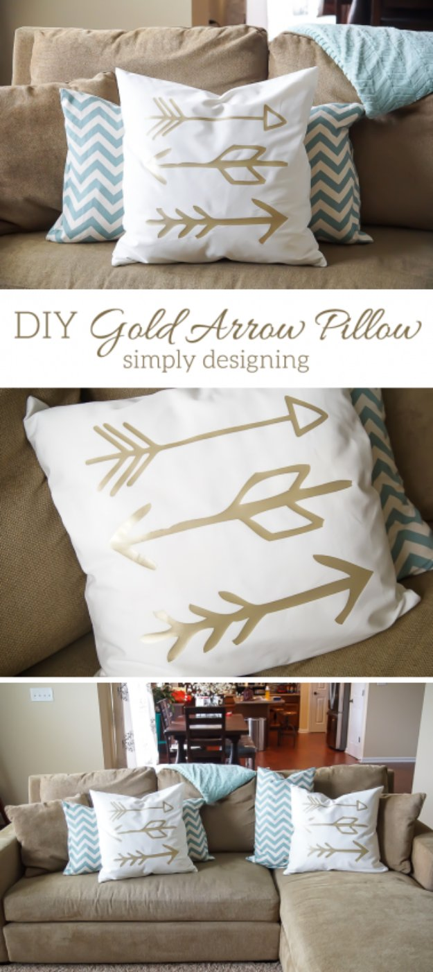 DIY Pillows and Creative Pillow Projects - DIY Gold Arrow Pillows - Decorative Cases and Covers, Throw Pillows, Cute and Easy Tutorials for Making Crafty Home Decor - Sewing Tutorials and No Sew Ideas