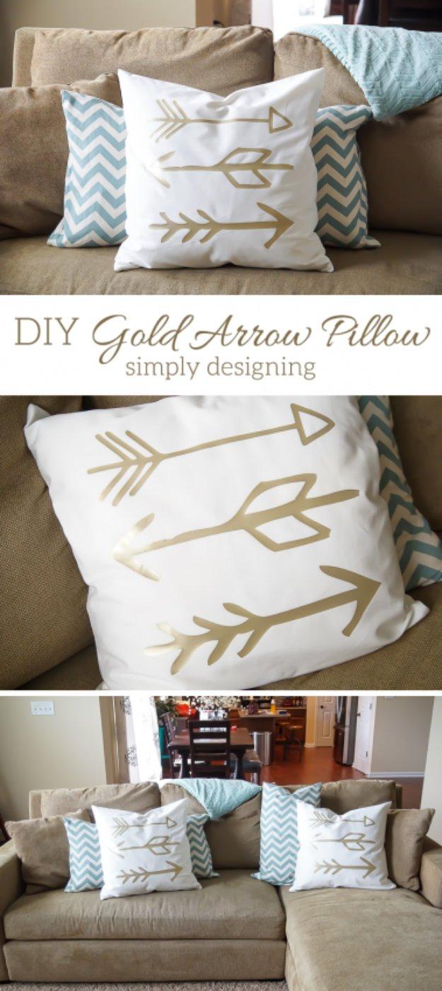 DIY Pillows and Creative Pillow Projects - DIY Gold Arrow Pillows