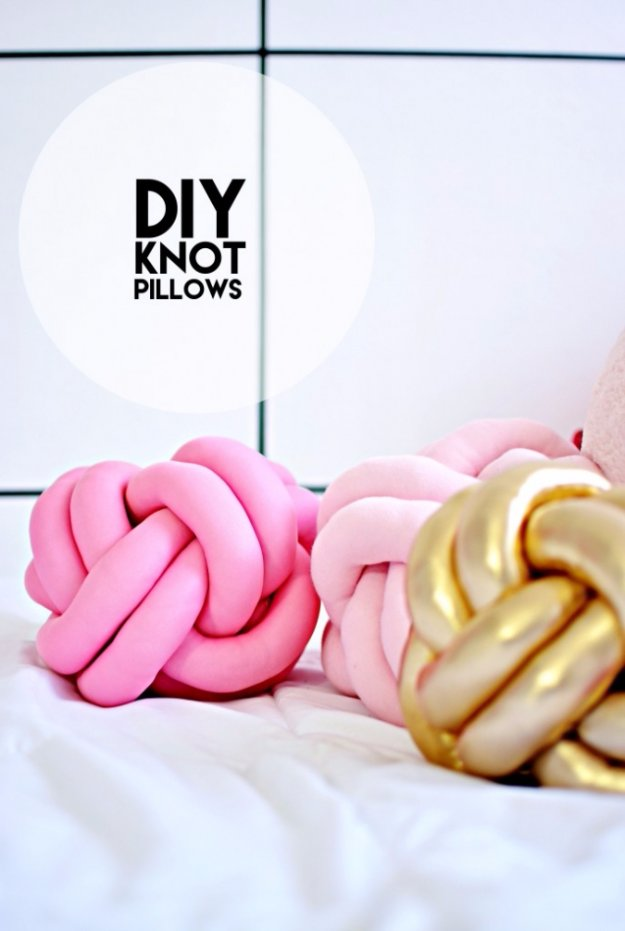 DIY Pillows and Creative Pillow Projects - DIY Knot Pillows Tutorial - Decorative Cases and Covers, Throw Pillows, Cute and Easy Tutorials for Making Crafty Home Decor - Sewing Tutorials and No Sew Ideas