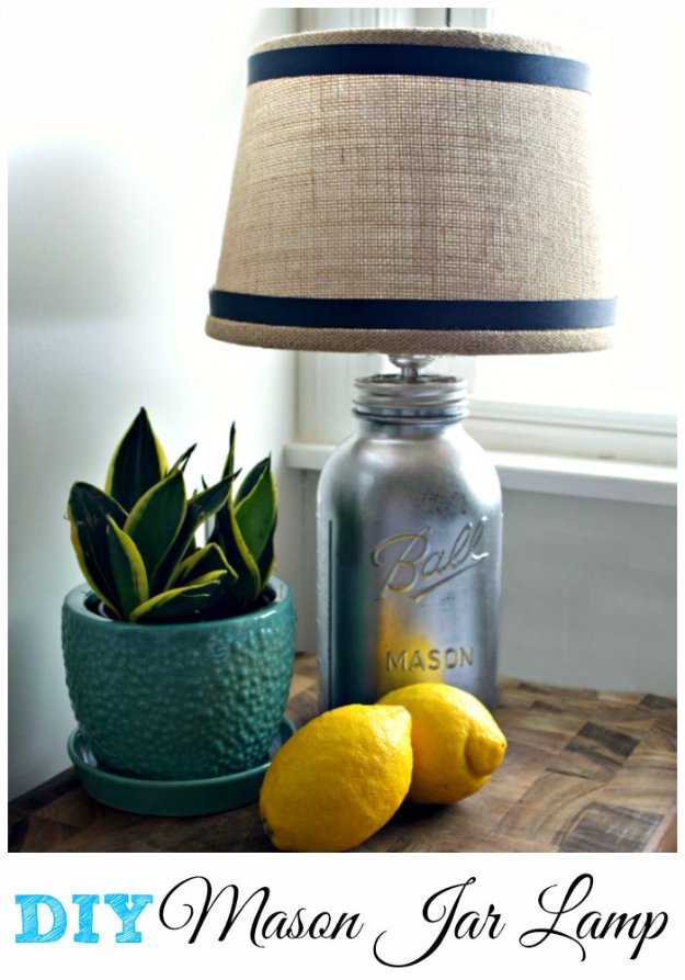 Mason Jar Ideas for Summer - DIY Mason Jar Lamp - Mason Jar Crafts, Decor and Gifts, Centerpieces and DIY Projects With Jars That Are Perfect For Summertime - Fun and Easy Lights, Cool Vases, Creative 4th of July Ideas