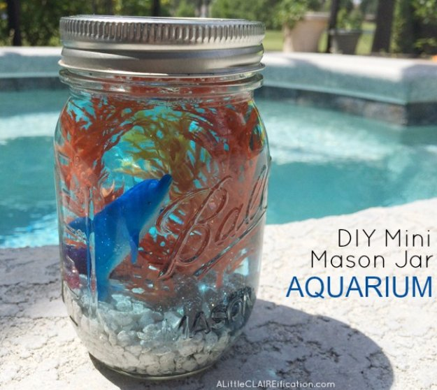 Mason Jar Ideas for Summer - DIY Mini Mason Jar Aquariums - Mason Jar Crafts, Decor and Gifts, Centerpieces and DIY Projects With Jars That Are Perfect For Summertime - Fun and Easy Lights, Cool Vases, Creative 4th of July Ideas